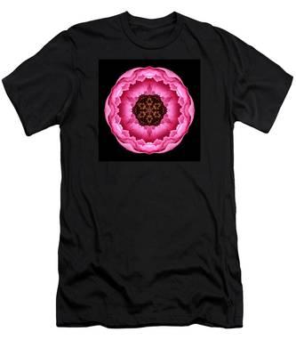 Pink Peony Flower Mandala Men's T-Shirt (Athletic Fit)