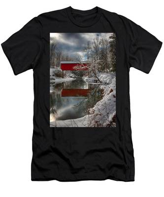 Men's T-Shirt (Athletic Fit) featuring the photograph reflection of Slaughterhouse covered bridge by Jeff Folger