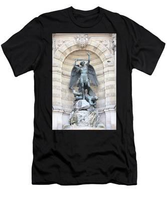 Saint Michael The Archangel In Paris Men's T-Shirt (Athletic Fit)