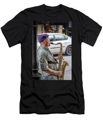 Sax In The Street Men's T-Shirt (Athletic Fit)