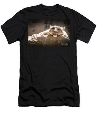 Snow Leopard Relaxing Men's T-Shirt (Athletic Fit)
