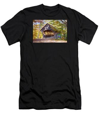 Men's T-Shirt (Athletic Fit) featuring the photograph Sunday River Covered Bridge by Jeff Folger