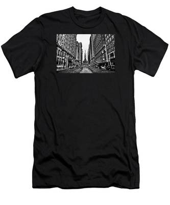 Men's T-Shirt (Athletic Fit) featuring the photograph Urban Canyon - Philadelphia City Hall by Bill Cannon