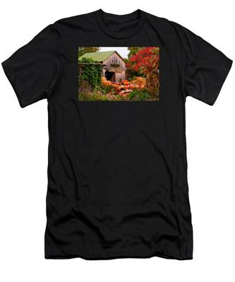 Men's T-Shirt (Athletic Fit) featuring the photograph Vermont Pumpkins And Autumn Flowers by Jeff Folger
