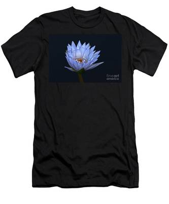 Water Lily Shades Of Blue And Lavender Men's T-Shirt (Athletic Fit)