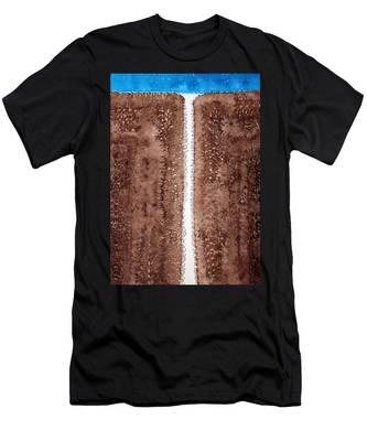Waterfall Original Painting Men's T-Shirt (Athletic Fit)