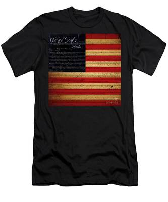 We The People - The Us Constitution With Flag - Square Men's T-Shirt (Athletic Fit)