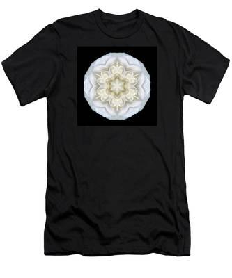 White Begonia II Flower Mandala Men's T-Shirt (Athletic Fit)