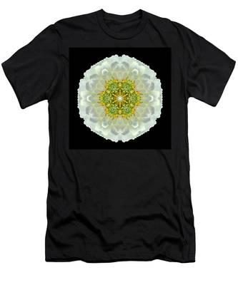 White Zinnia Elegans V Flower Mandala Men's T-Shirt (Athletic Fit)