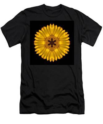 Yellow African Daisy Flower Mandala Men's T-Shirt (Athletic Fit)