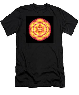Yellow And Red Rose IIi Flower Mandala Men's T-Shirt (Athletic Fit)