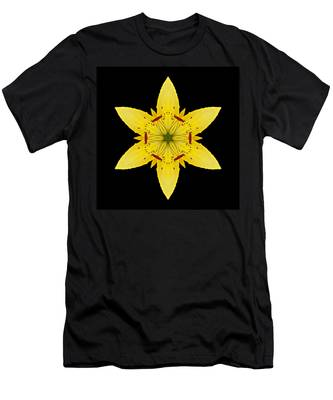 Yellow Lily I Flower Mandala Men's T-Shirt (Athletic Fit)