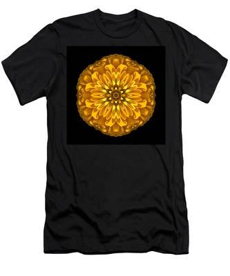 Yellow Zinnia Elegans Flower Mandala Men's T-Shirt (Athletic Fit)