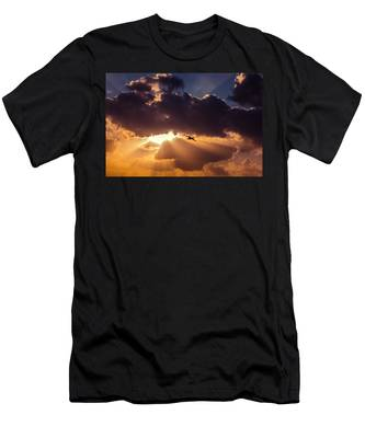 Men's T-Shirt (Athletic Fit) featuring the photograph Bird In Sunrise Rays by Michael Goyberg