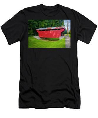 Feedwire Covered Bridge - Carillon Park Dayton Ohio Men's T-Shirt (Athletic Fit)