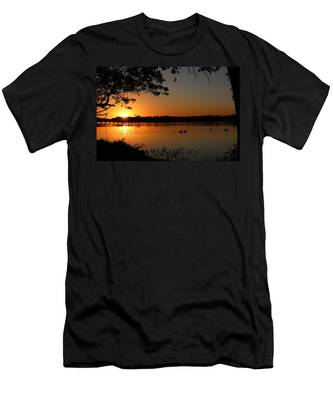 Men's T-Shirt (Athletic Fit) featuring the photograph Sunset Over Inks Lake  by Christy Pooschke