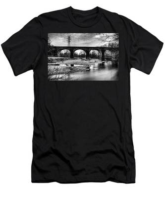 Thomas Viaduct In Black And White Men's T-Shirt (Athletic Fit) by Dennis Dame
