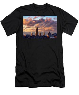 Men's T-Shirt (Athletic Fit) featuring the photograph Albany Sunset Skyline by Brad Wenskoski