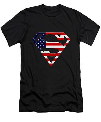 Men's T-Shirt (Athletic Fit) featuring the photograph American Flag Superman Shield by Bill Cannon