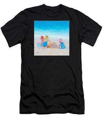 Beach Painting - Building Sandcastles Men's T-Shirt (Athletic Fit)