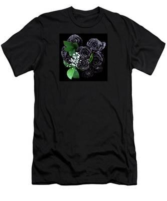 Black Roses Bouquet Men's T-Shirt (Athletic Fit) by Teresa Epps