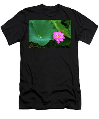 Men's T-Shirt (Athletic Fit) featuring the photograph Blooming Pink And Yellow Lotus Lily by Dennis Dame