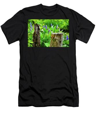Men's T-Shirt (Athletic Fit) featuring the photograph Blue Flowers And Artistic Logs by Dennis Dame