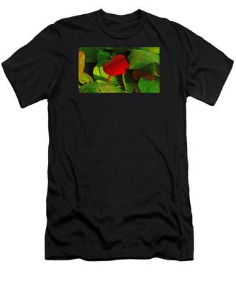 Bold Red Sea Grape Leaf Men's T-Shirt (Athletic Fit)