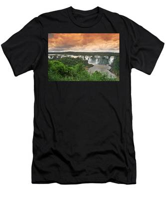 Men's T-Shirt (Athletic Fit) featuring the photograph Brazil,iguazu Falls,spectacular View by Juergen Held