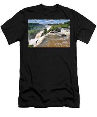 Men's T-Shirt (Athletic Fit) featuring the photograph Brazil,iguazu Falls, by Juergen Held