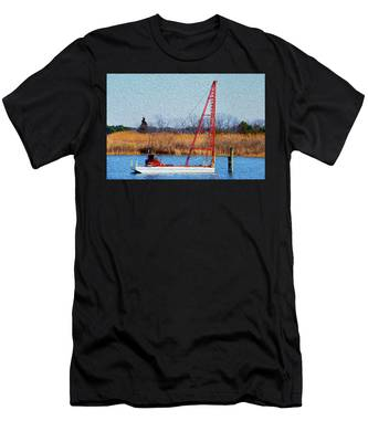 Men's T-Shirt (Athletic Fit) featuring the photograph Bright Paintery Barge by Dennis Dame