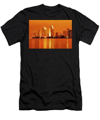 Men's T-Shirt (Athletic Fit) featuring the photograph Bronze San Diego Skyline by Howard Bagley