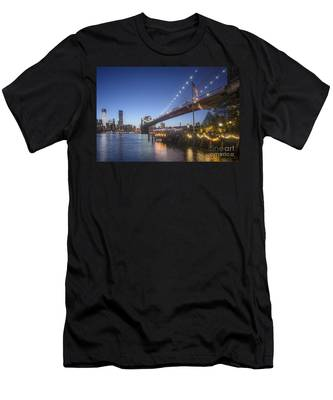 Men's T-Shirt (Athletic Fit) featuring the photograph Brooklyn Brdige New York  by Juergen Held