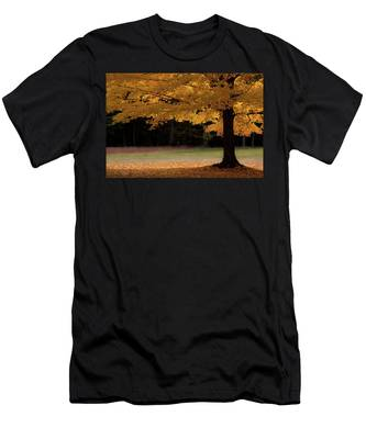 Men's T-Shirt (Athletic Fit) featuring the photograph Canopy Of Autumn Gold by Jeff Folger