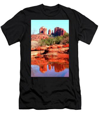 Men's T-Shirt (Athletic Fit) featuring the photograph Cathedral Reflections 2 by Howard Bagley