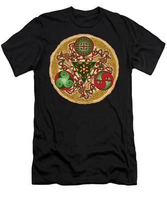 Celtic Reindeer Shield Men's T-Shirt (Athletic Fit)