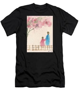 Cherry Blossom Tree Over The Bridge Men's T-Shirt (Athletic Fit)