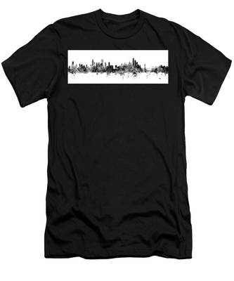 Chicago And New York City Skylines Mashup Men's T-Shirt (Athletic Fit)