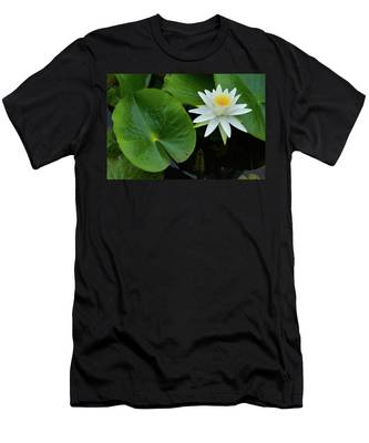 Men's T-Shirt (Athletic Fit) featuring the photograph Crisp White And Yellow Lily by Dennis Dame