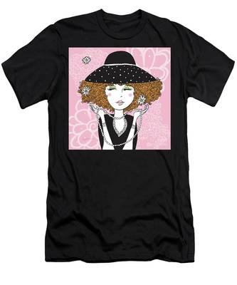 Curly Girl In Polka Dots Men's T-Shirt (Athletic Fit)