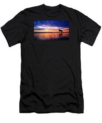 Dog Chasing Stick At Sunrise Men's T-Shirt (Athletic Fit)