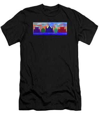 Men's T-Shirt (Athletic Fit) featuring the digital art Electric Sunrise by Teresa Epps