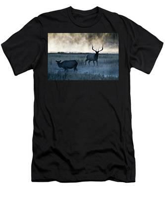 Elk In The Mist Men's T-Shirt (Athletic Fit)
