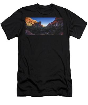Men's T-Shirt (Athletic Fit) featuring the photograph Fay Canyon Panorama by Andy Konieczny