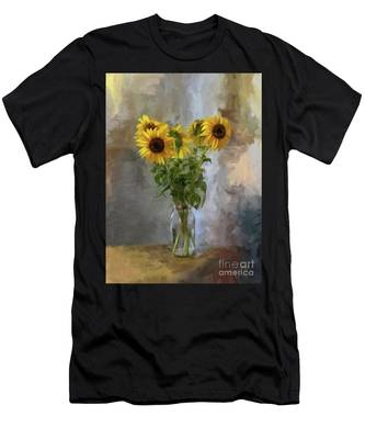 Five Sunflowers Centered Men's T-Shirt (Athletic Fit)