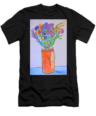 Flowers In An Orange Mason Jar Men's T-Shirt (Athletic Fit)