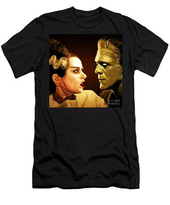 Frankenstein And The Bride I Have Love In Me The Likes Of Which You Can Scarcely Imagine 20170407 Sq Men's T-Shirt (Athletic Fit)