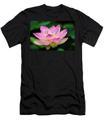 Men's T-Shirt (Athletic Fit) featuring the photograph Gigantic Lotus Red Lily by Dennis Dame