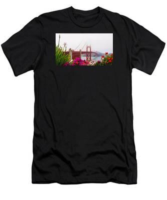 Golden Gate Bridge Flowers 2 Men's T-Shirt (Athletic Fit)