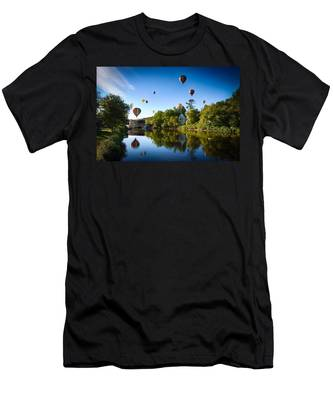 Men's T-Shirt (Athletic Fit) featuring the photograph Hot Air Balloons In Quechee by Jeff Folger